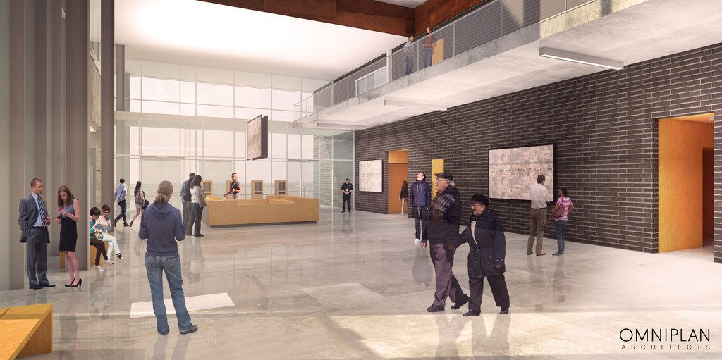 A conceptual rendering of the lobby of the future Dallas Holocaust and Human Rights Museum.