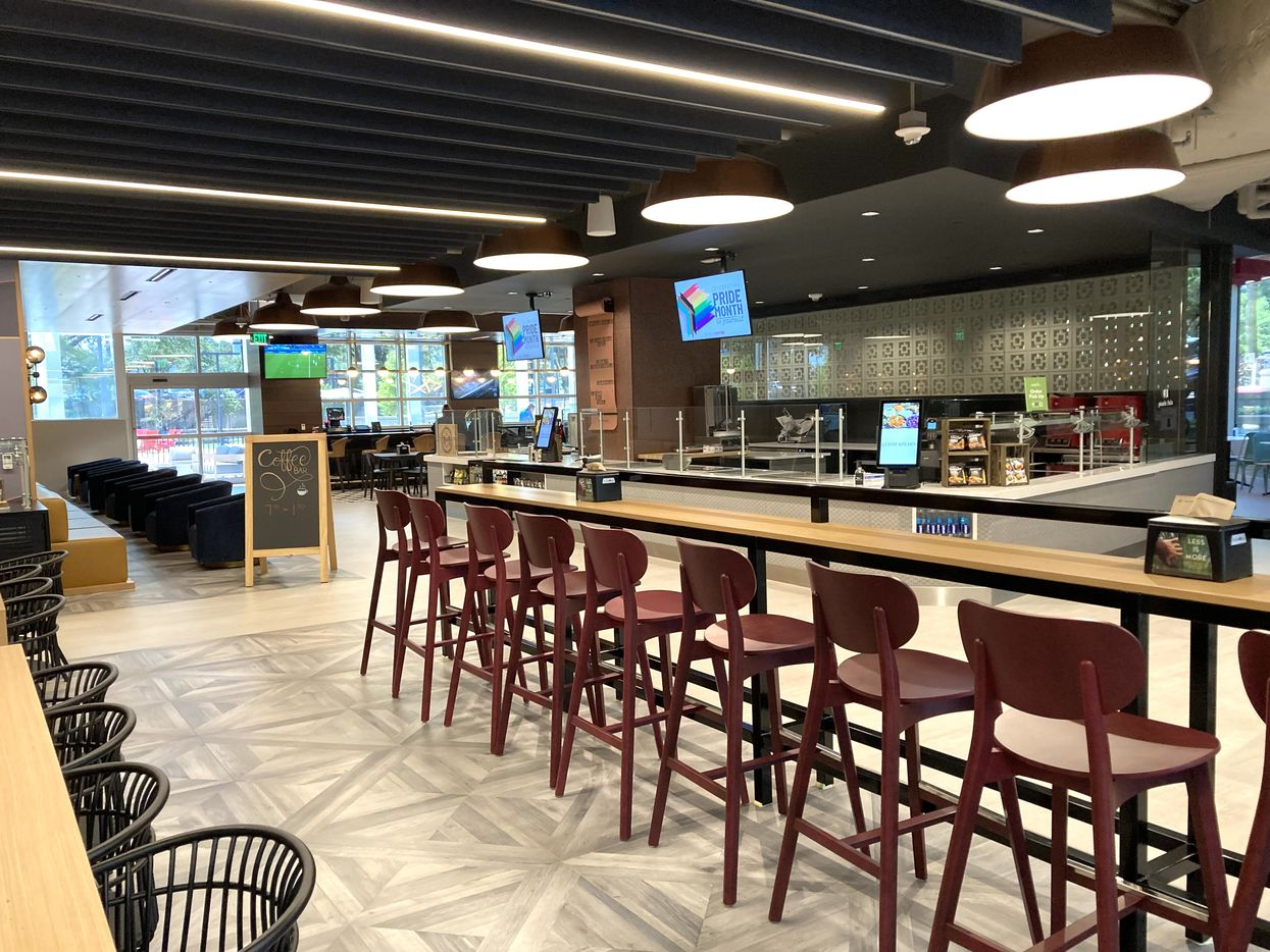 The new food hall at Lincoln Centre has multiple serving and seating stations.