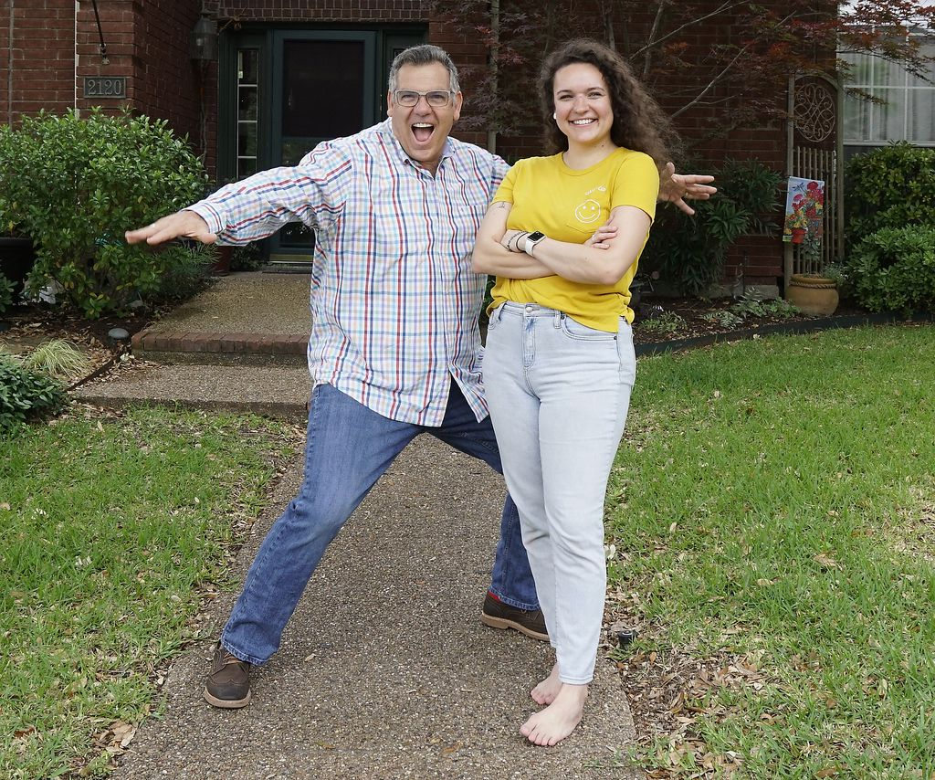 "Their video from the early days of the quarantine has gone viral with 13 million views. ""It's just so crazy how a small little dance video exploded into this bigger human being connection,"" says Ali Hoffman, pictured here with her kitchen dance partner and dad Michael at their Carrollton, Texas home."