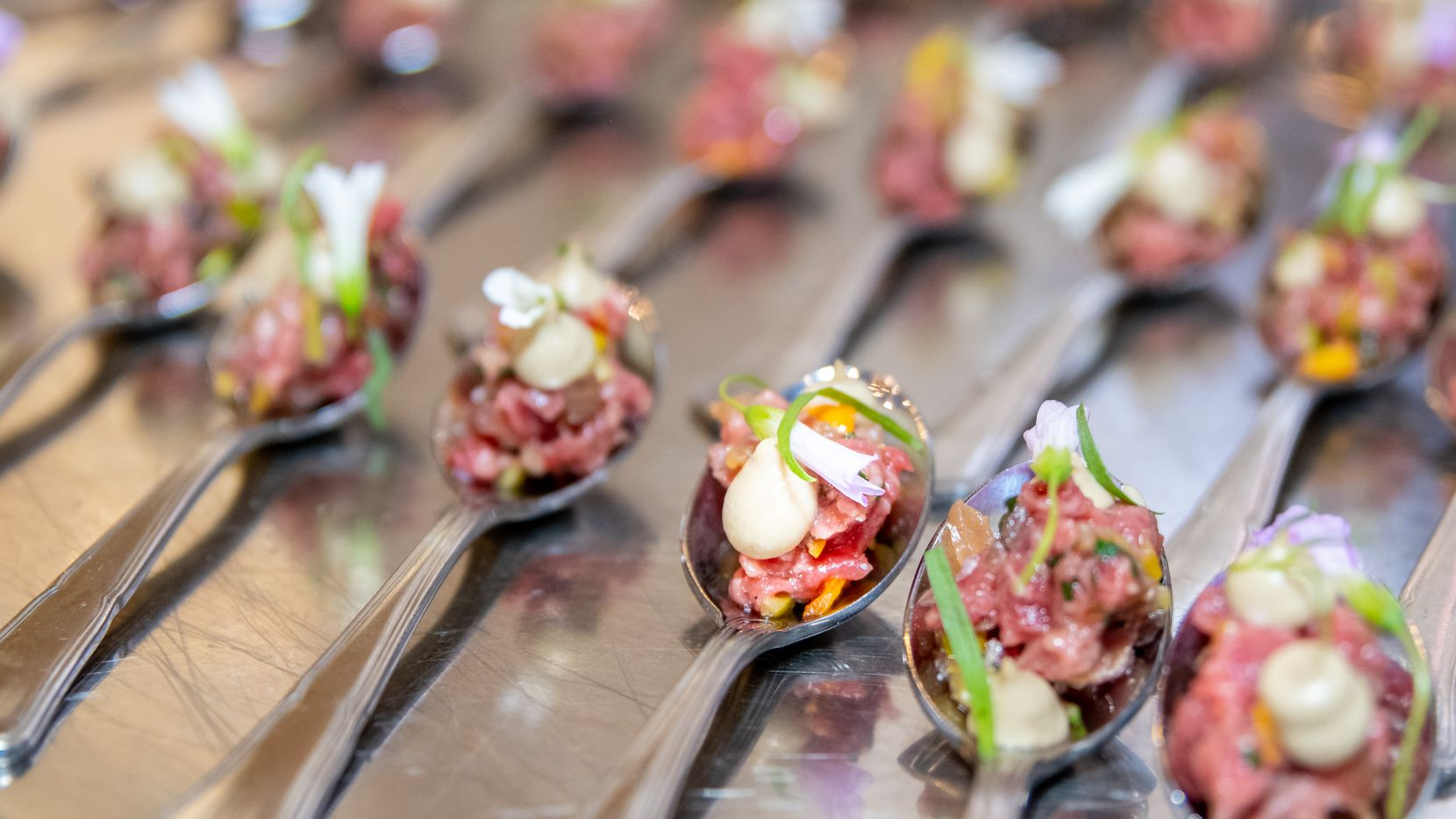 """Bites of beef tartare served before a panel discussion on """"Dining Out in Dallas: Past, Present and Future"""" at the Adolphus Hotel in September. Originally called the Food Talk, the panels have been renamed Marination Live."""