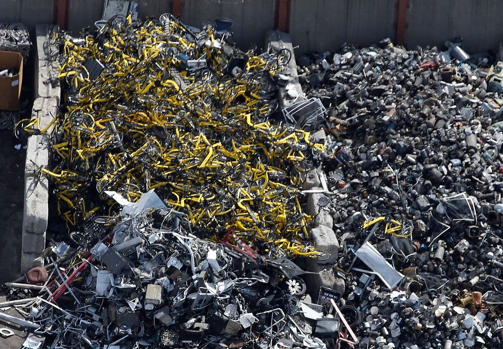 Hundreds of Ofo rental bikes were found at CMC Recycling in Dallas on Aug. 6, 2018.