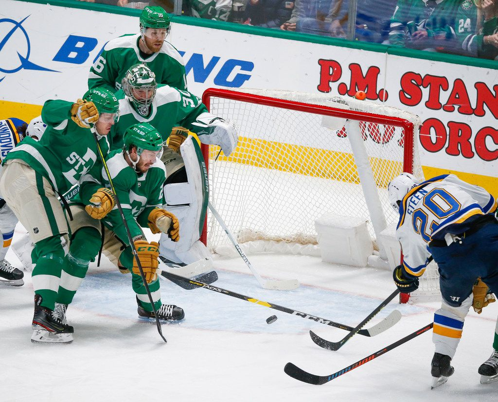 St. Louis Blues left wing Alexander Steen (20) scores on the Dallas Stars during the first period of an NHL matchup between the Dallas Stars and the St. Louis Blues on Friday, Feb. 21, 2020 at American Airlines Center in Dallas.