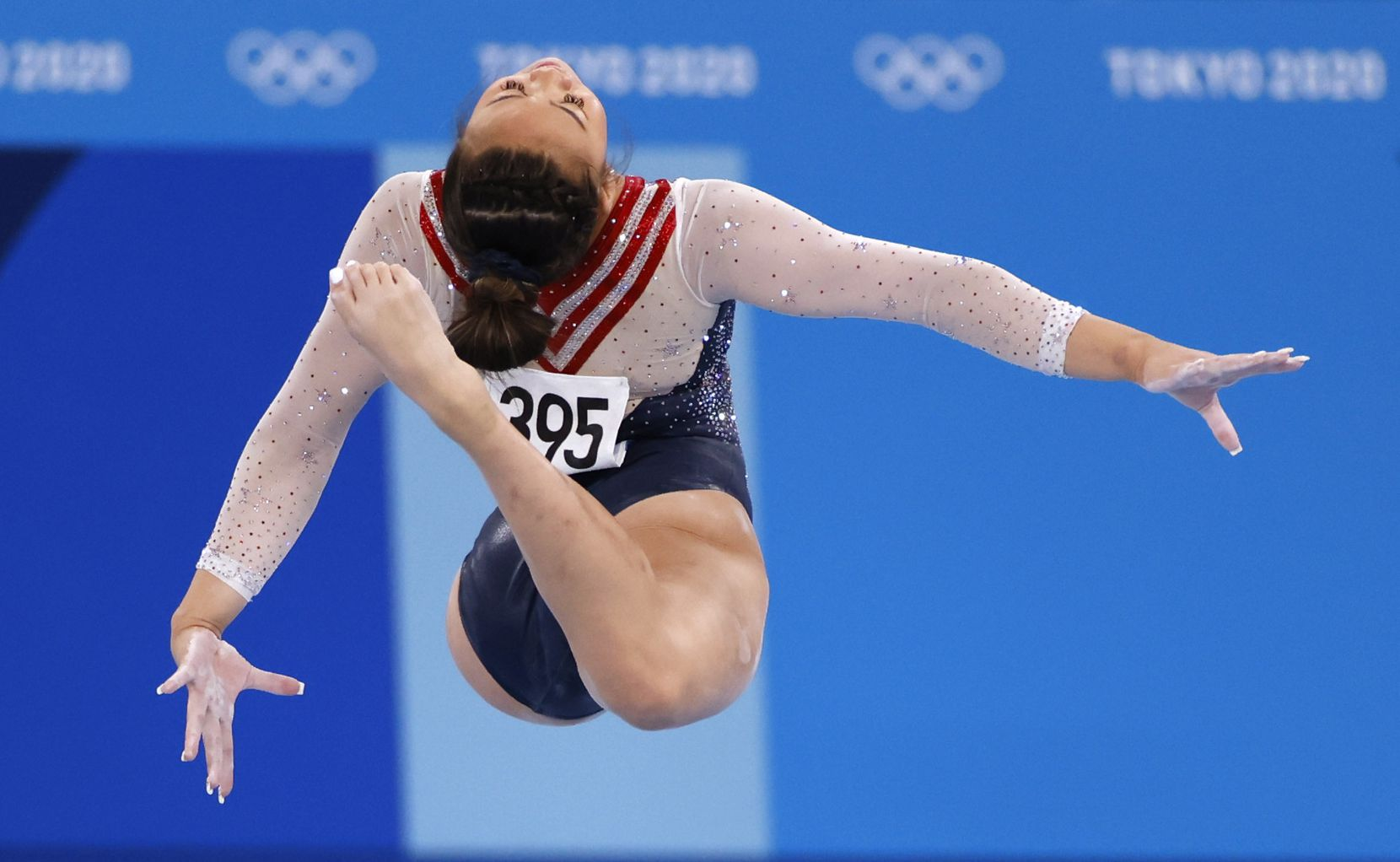 USA's Sunisa Lee competes on the balance beam during the women's all-around final at the postponed 2020 Tokyo Olympics at Ariake Gymnastics Centre, on Thursday, July 29, 2021, in Tokyo, Japan. (Vernon Bryant/The Dallas Morning News)