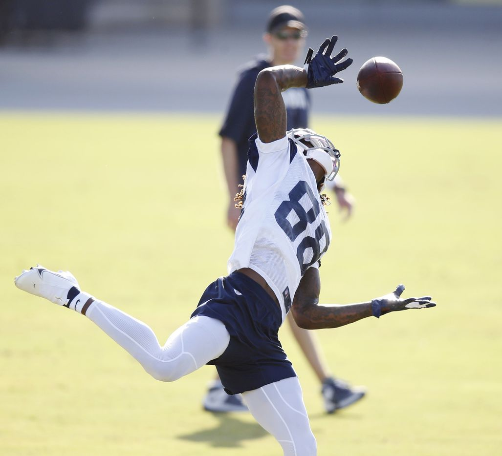 Dallas Cowboys wide receiver CeeDee Lamb (88) makes a one handed catch that he bobbled but eventually caught during the first day of training camp at Dallas Cowboys headquarters at The Star in Frisco, Texas on Friday, August 14, 2020. (Vernon Bryant/The Dallas Morning News)