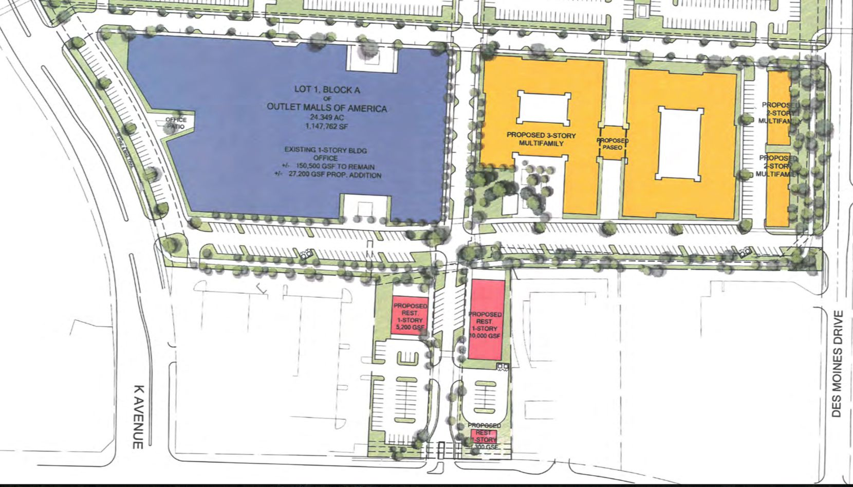 The east end of the existing mall building would be demolished for new apartments.