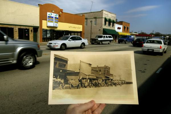 A 2004 file photo compared traffic on the north side of Main Street in Richardson with what the street looked like in an early 1900s photo from the Richardson Public Library.