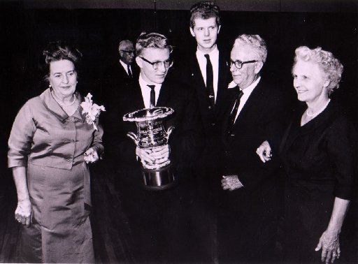 Ralph Votapek, winner of the first Van Cliburn International Piano Competition in 1962, is joined by competition chair Grace Ward Lankford (left), Van Cliburn (back), and competition founder Irv Allison and his wife, Jessie Allison.
