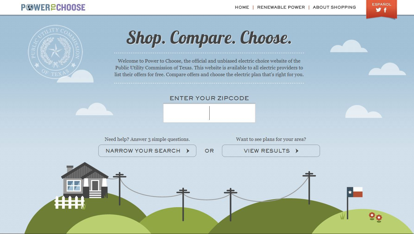 The Power To Choose website lets consumers plug in their ZIP code to see providers' plans available in their area. p