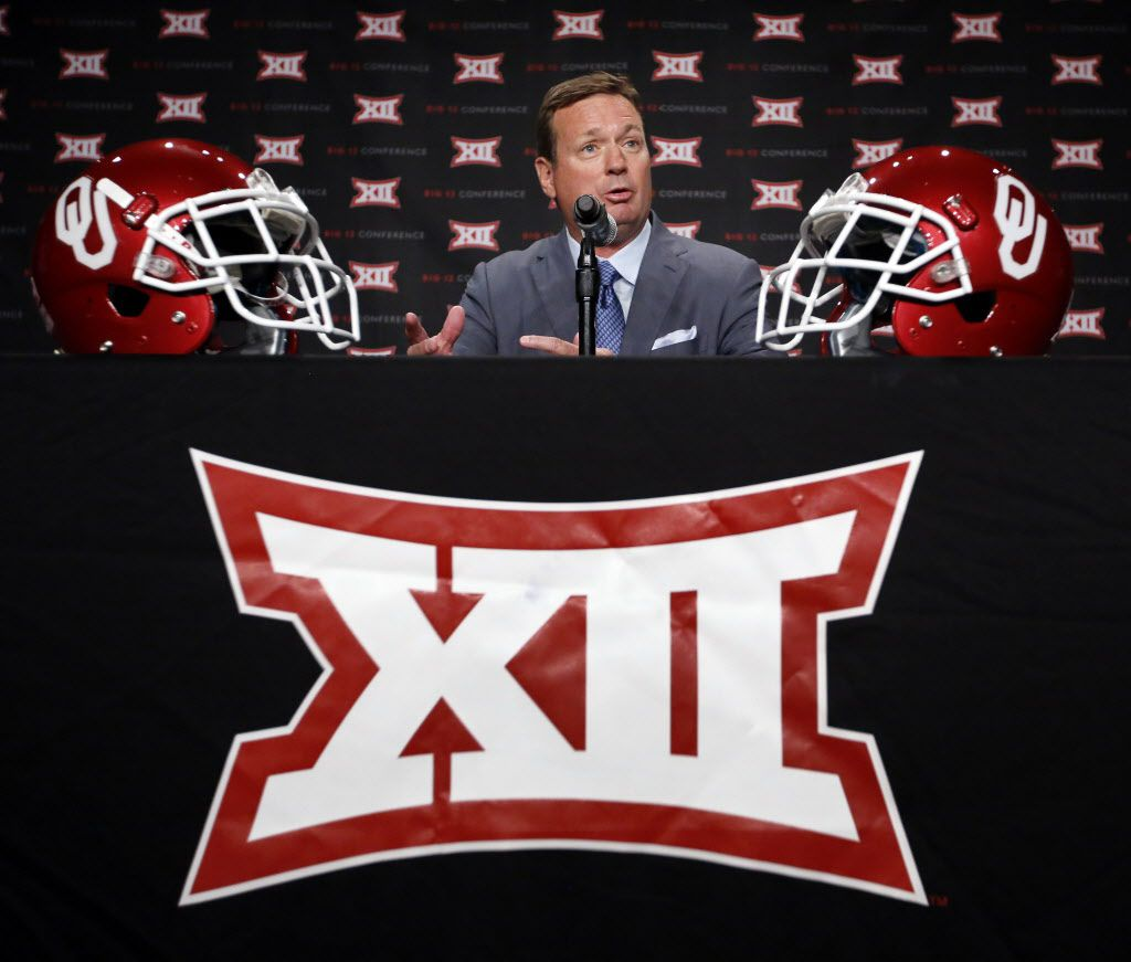Oklahoma head football coach Bob Stoops responds to a question from reporters during the Big 12 Conference Football Media Days at the Omni Dallas Hotel, July 19, 2016. (Tom Fox/The Dallas Morning News)