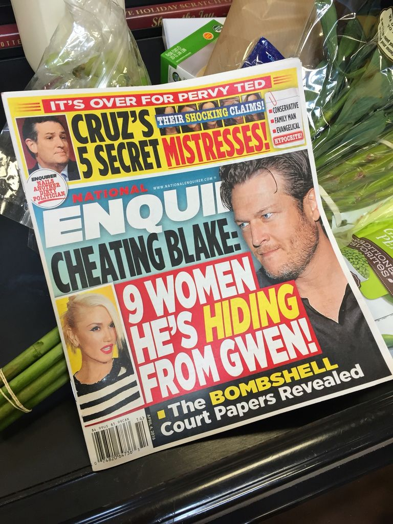 """The National Enquirer's April 4, 2016, edition alleged that Sen. Ted Cruz had five mistresses. He denied any infidelity and dismissed the tabloid report at """"garbage."""""""