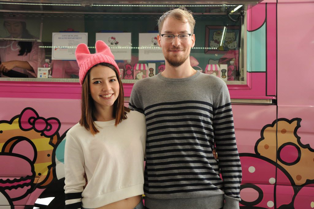 Friends Brenda Koke and Elliot Wright waited three hours in line at the Hello Kitty Cafe Truck at The Shops at Willow Bend in Plano, TX on March 12, 2016. (Alexandra Olivia/ Special Contributor)