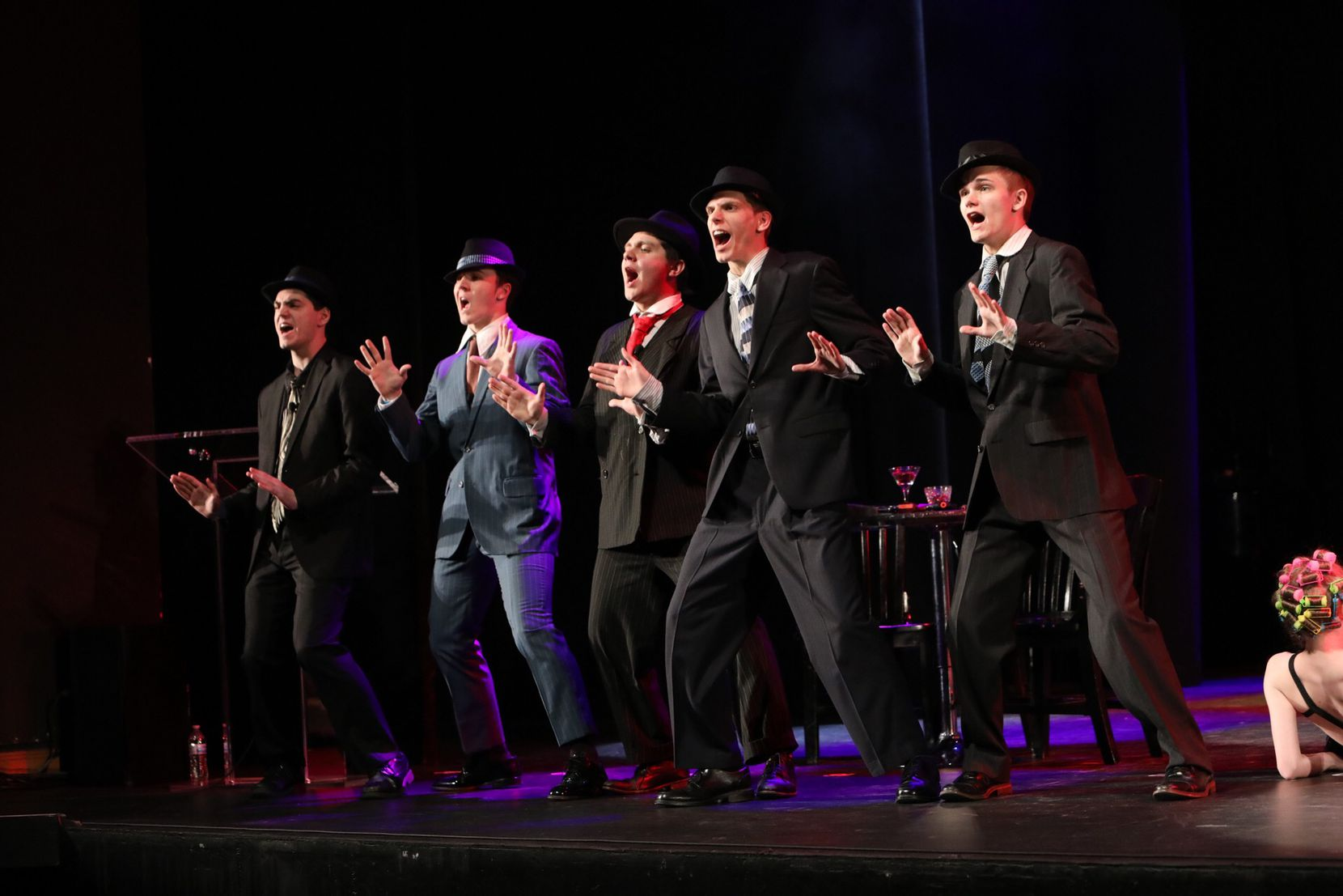 "Students from Grand Prairie Fine Arts Academy perform a scene from ""Bullets Over Broadway"" at the High School Musical Theatre Awards at the Music Hall at Fair Park on May 9, 2019. The event is sponsored by Dallas Summer Musicals. The Grand Prairie school won the Best Musical Award."