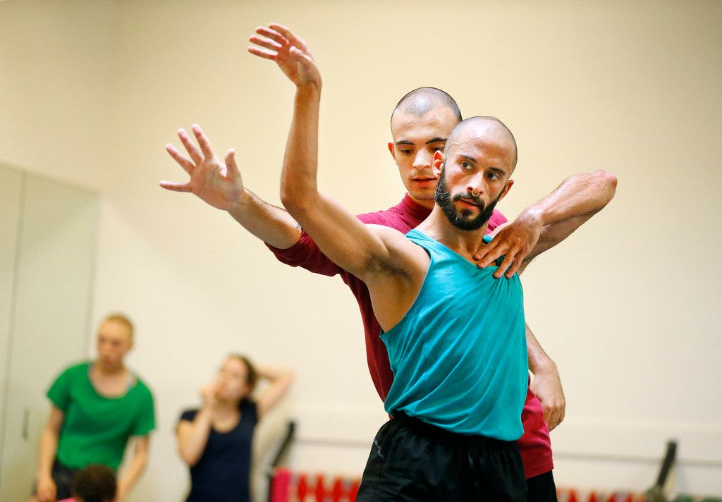 Chadi El-Khoury (front right) and Eric Lobenberg of Dark Circles Contemporary Dance rehearse Aladdin, Habibi.
