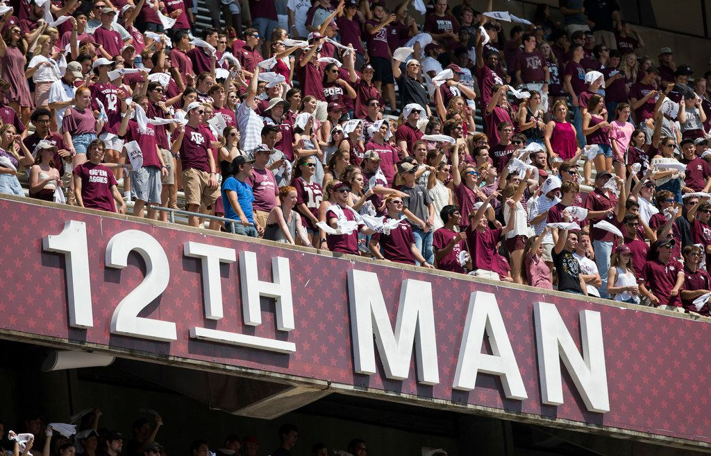 FILE - Texas A&M fans wave 12th Man towels in the student section of Kyle Field during the fourth quarter of an NCAA college football game between Texas A&M and Louisiana-Lafayette Saturday, Sept. 16, 2017, in College Station, Texas. (AP Photo/Sam Craft)