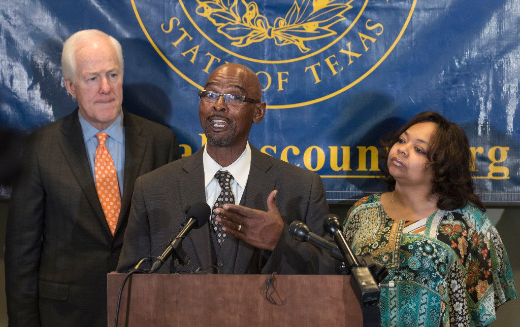 Johnny Pinchback talked about spending 27 years in prison for two rapes he didn't commit during a news conference Wednesday with Sen. John Cornyn and rape survivor Lavinia Masters. (Rex C. Curry/Special Contributor)