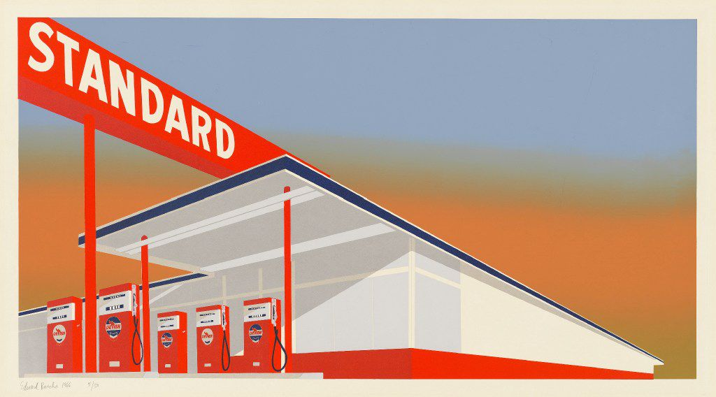 Ed Ruscha, Standard Station, 1966, screenprint, National Gallery of Art, Washington, Reba and Dave Williams Collection, Florian Carr Fund and Gift of the Print Research Foundation