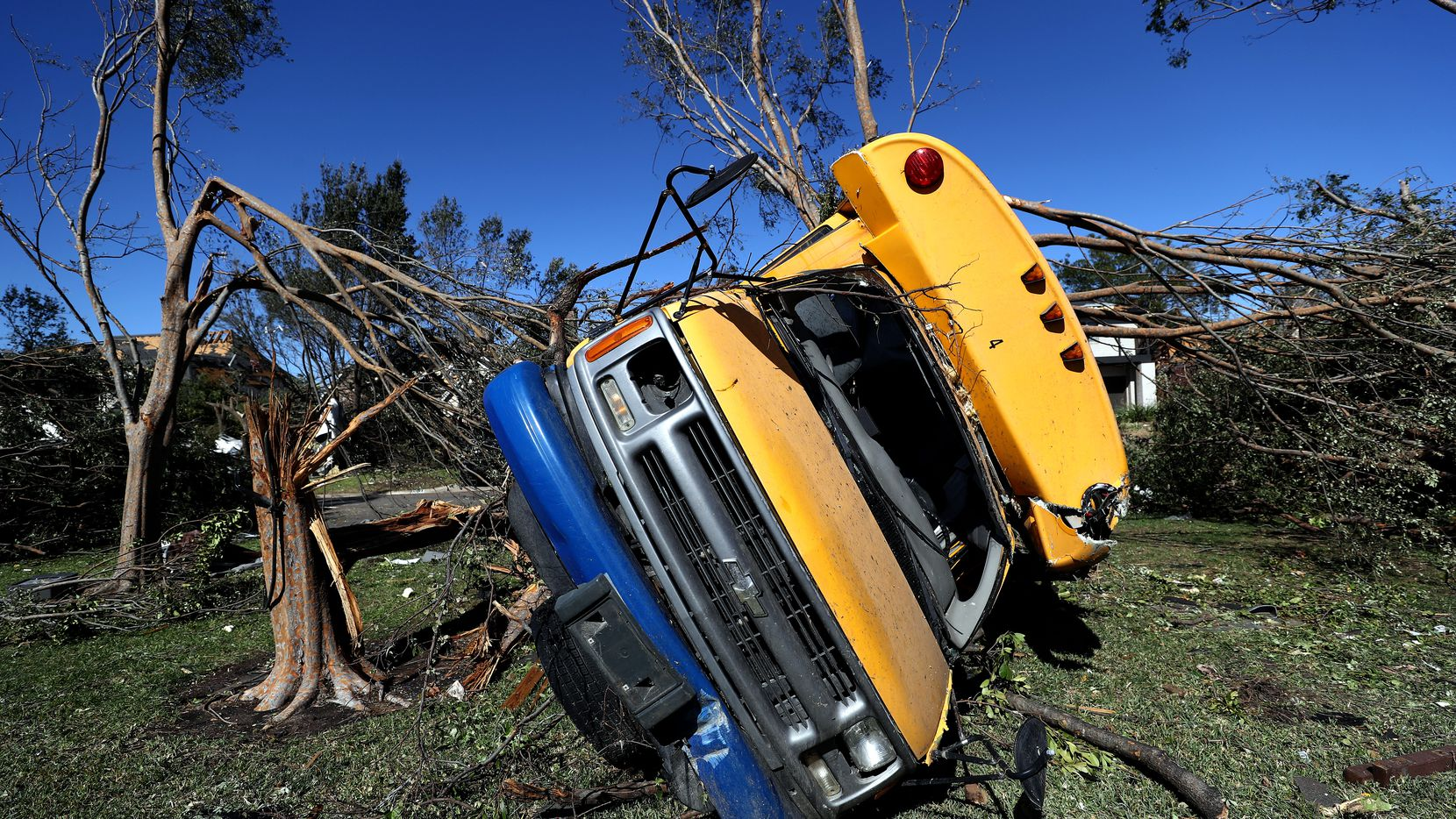 DALLAS, TEXAS - OCTOBER 21: A St Mark's School of Texas school bus lies on top of a tree on October 21, 2019 in Dallas, Texas.  A tornado struck Sunday night causing major damage to homes, businesses and schools but no deaths or serious injuries have been reported. (Photo by Ronald Martinez/Getty Images)