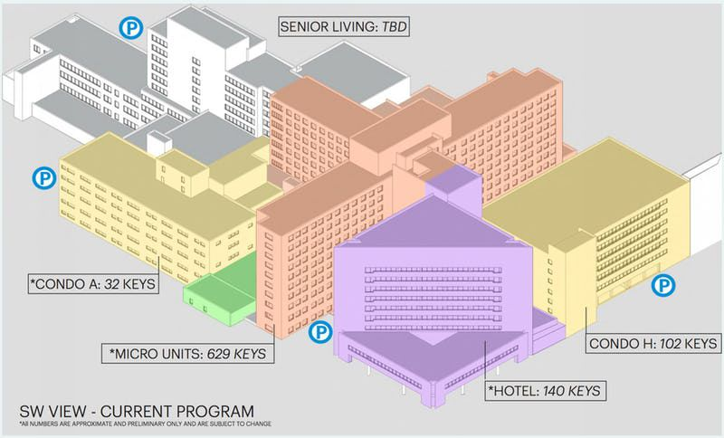 A preliminary plan for the 38-acre former Parkland Hospital campus shows a variety of uses.