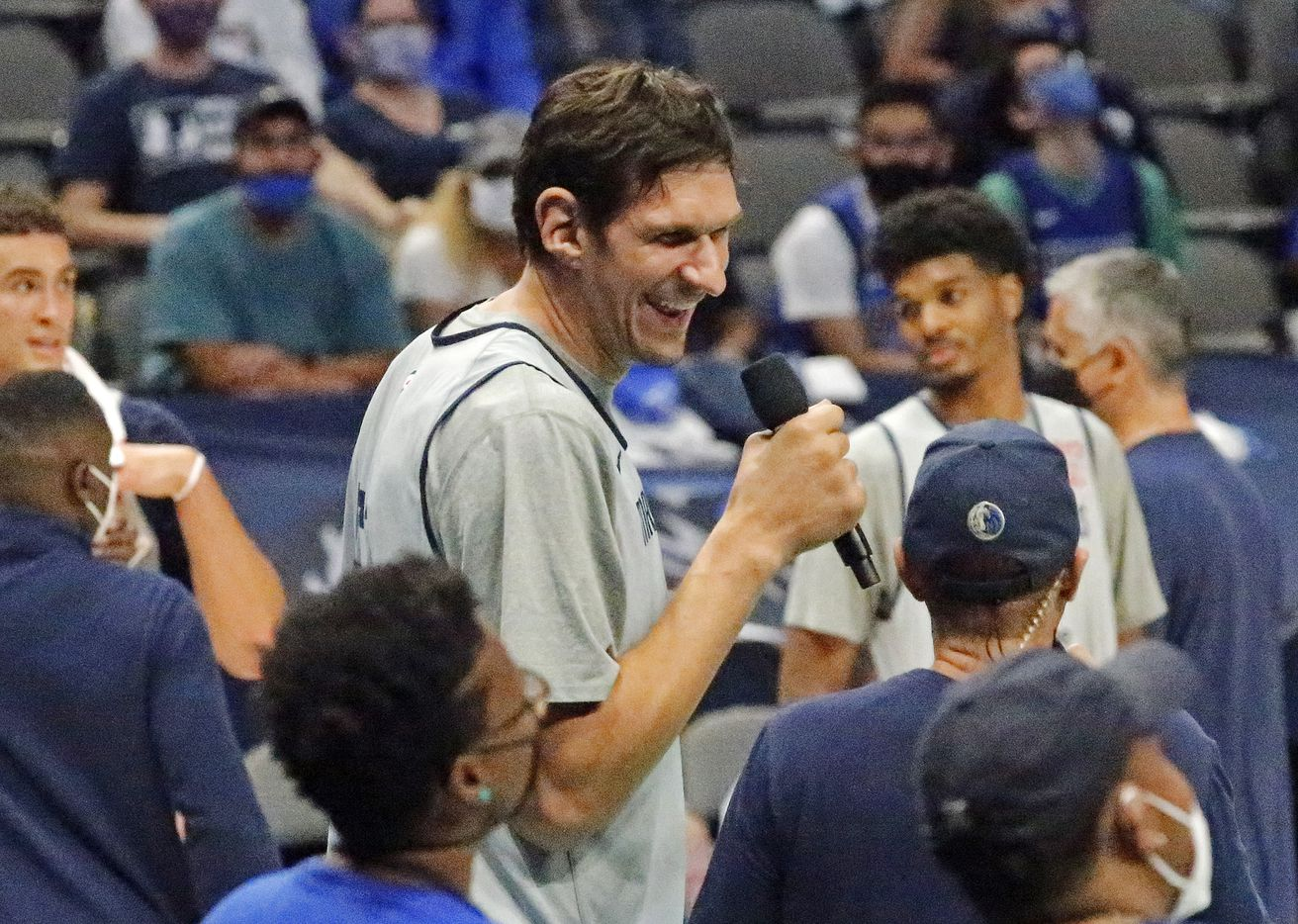 Dallas Mavericks center Boban Marjanovic (51) gives an interview as the Dallas Mavericks held their Mavs Fam Jam, a scrimmage free to the public at the American Airlines Center in Dallas on Sunday, October 3, 2021. (Stewart F. House/Special Contributor)