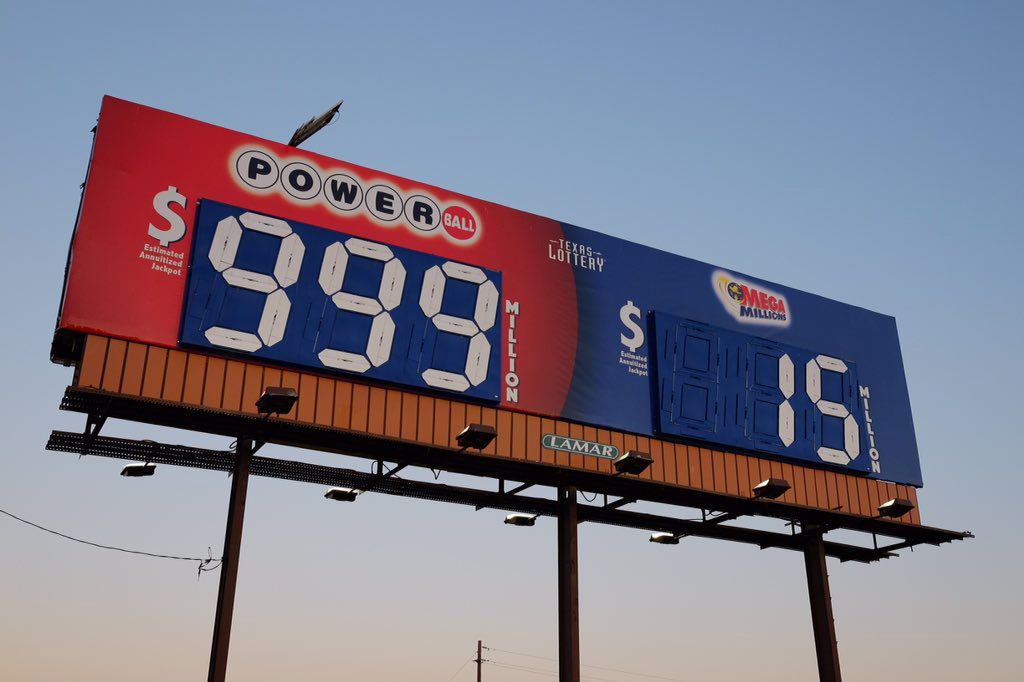 An image showing a billboard touting the Powerball and Megamillions prize amounts that were posted on the Texas Lottery Twitter page Sunday, Jan. 10, 2016.