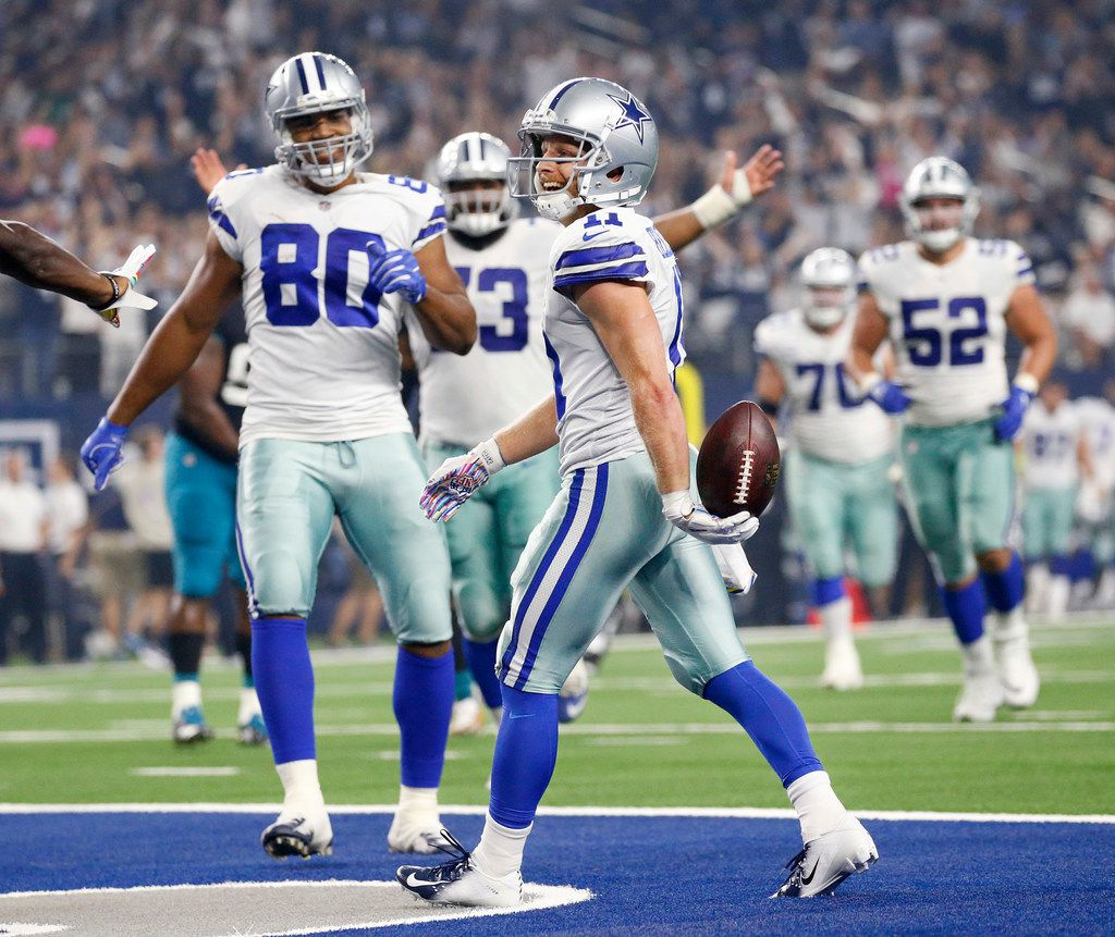 Dallas Cowboys wide receiver Cole Beasley (11) celebrates his second touchdown against the Jacksonville Jaguars during the second quarter touchdown at AT&T Stadium in Arlington, Texas, Sunday, October 14, 2018. (Tom Fox/The Dallas Morning News)