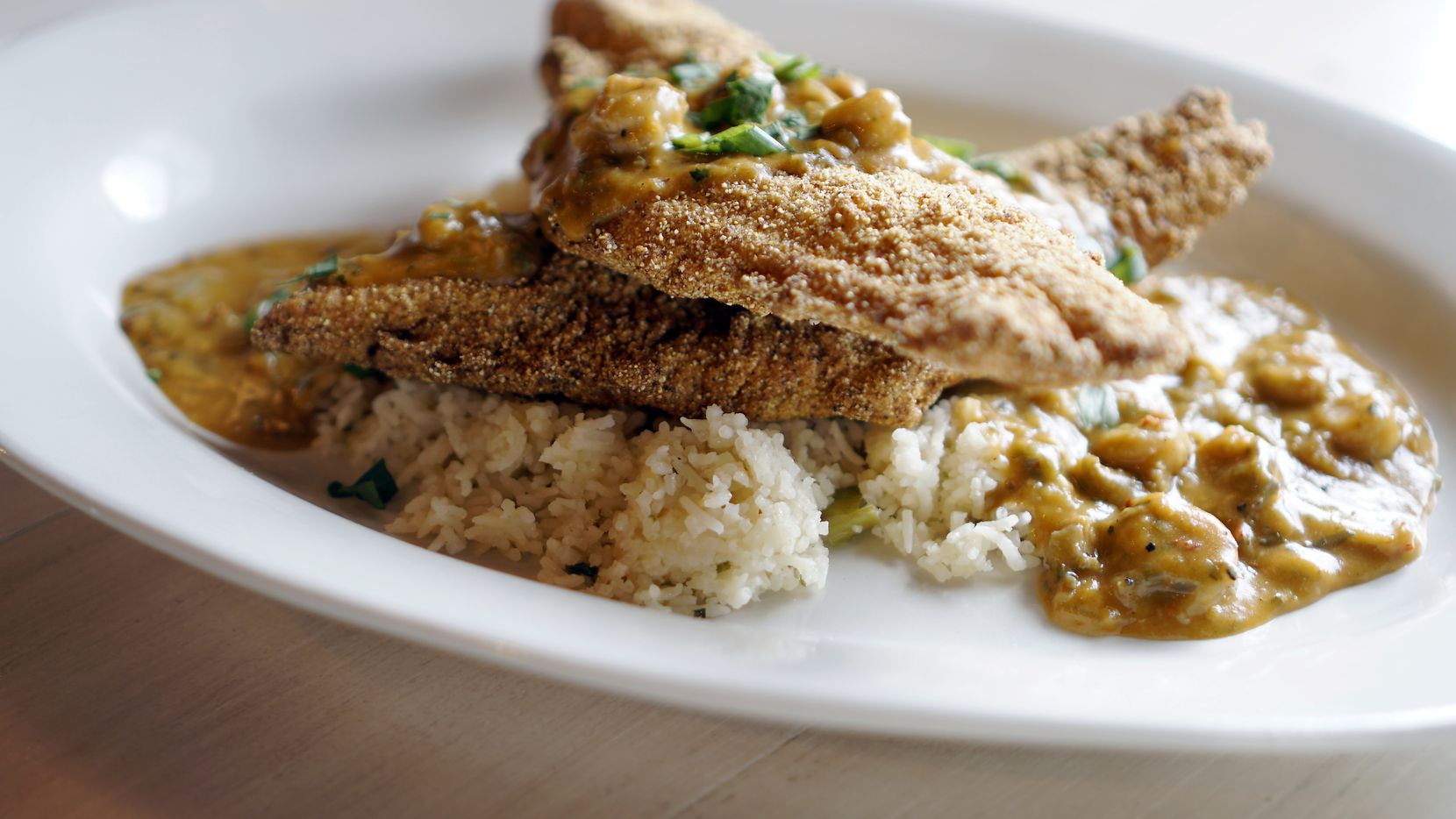 Fried catfish étouffée is one of the dishes at St. Argyle's Cajun Kitchen & Pirogue Sales in Argyle. The restaurant opened Nov. 5, 2020.