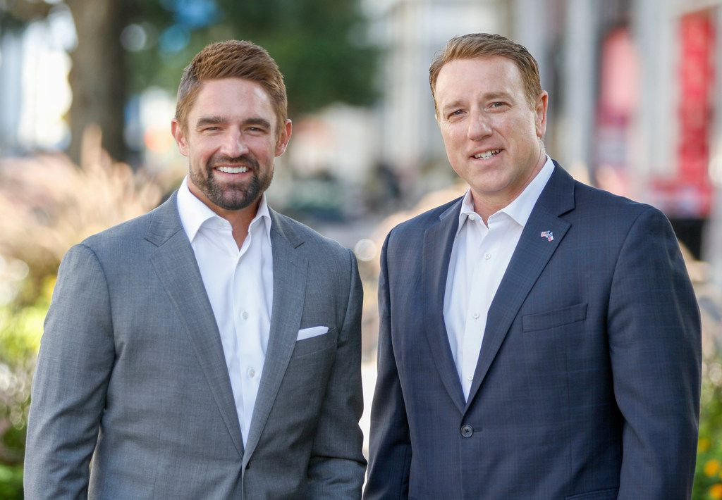 State Rep. Jeff Leach, R-Plano,, left, and state Sen. Pat Fallon, R-Frisco, worked together to push a constitutional amendment that will make it much harder to enact a Texas state income tax. Voters will decide on Proposition 4 in the Nov. 5 election.