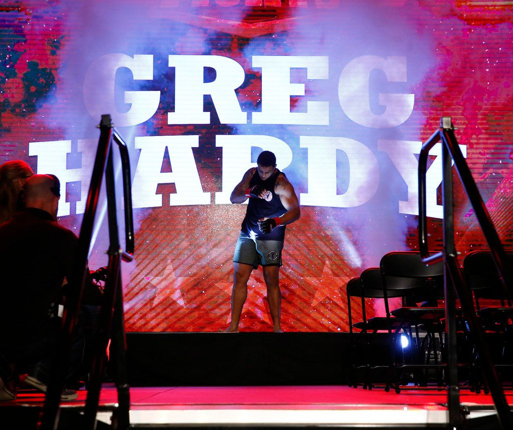 Former Cowboy Greg Hardy is introduced in his fight against Ryan Chester during an amateur heavyweight fight at The Bomb Factory in Dallas on Feb. 16, 2018.  (Nathan Hunsinger/The Dallas Morning News)