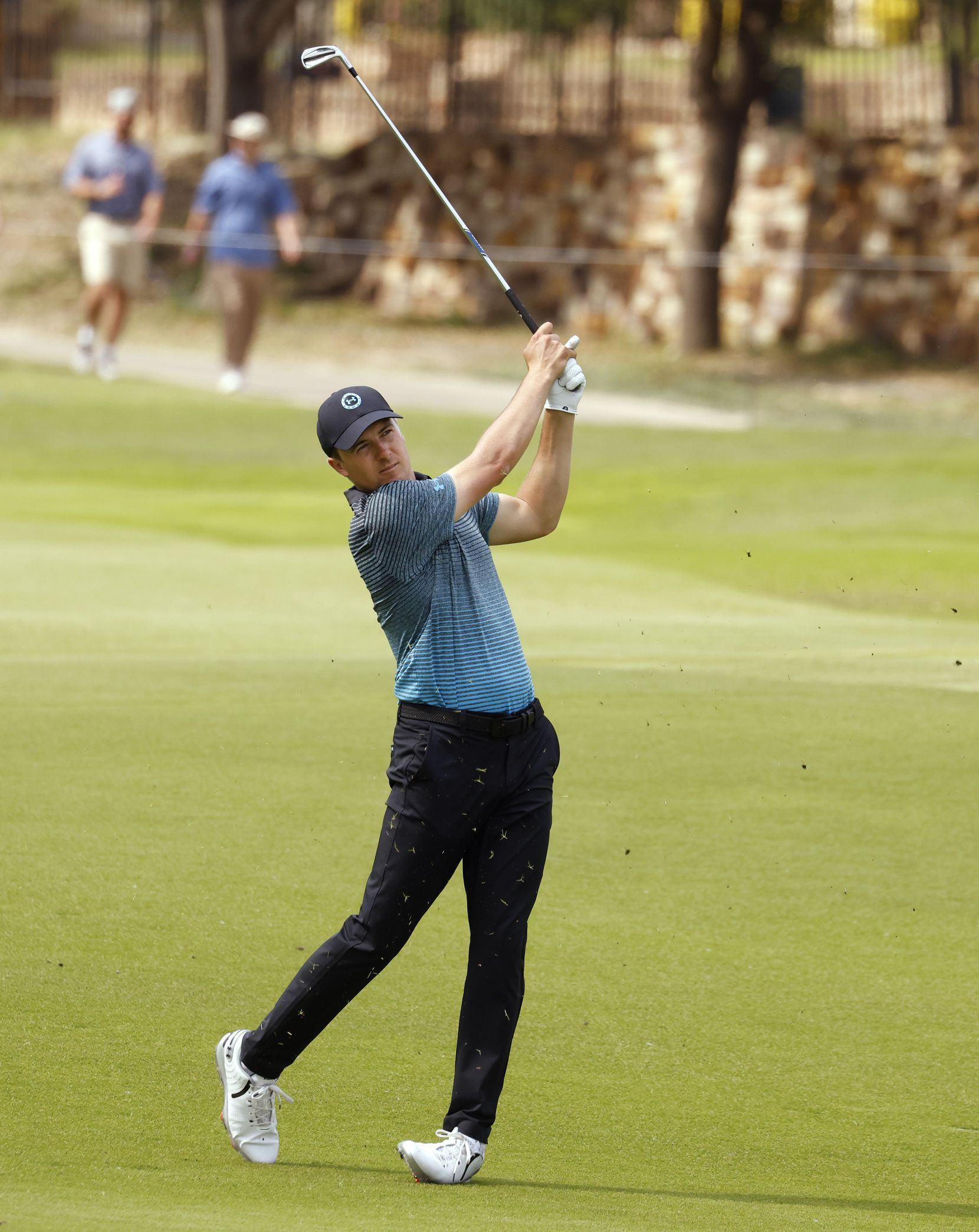 Jordan Spieth watches after hitting from the fairway of the 16th hole during round 3 of the AT&T Byron Nelson  at TPC Craig Ranch on Saturday, May 15, 2021 in McKinney, Texas. (Vernon Bryant/The Dallas Morning News)