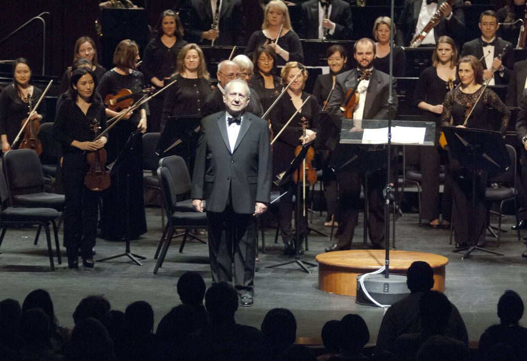 Maestro Anshel Brusilow pauses to acknowledge a standing ovation given him by the Richardson Symphony Orchestra and audience prior to the start of his final performance as music director/conductor on April 14, 2012, at the Charles Eisemann Center for the Performing Arts in Richardson.