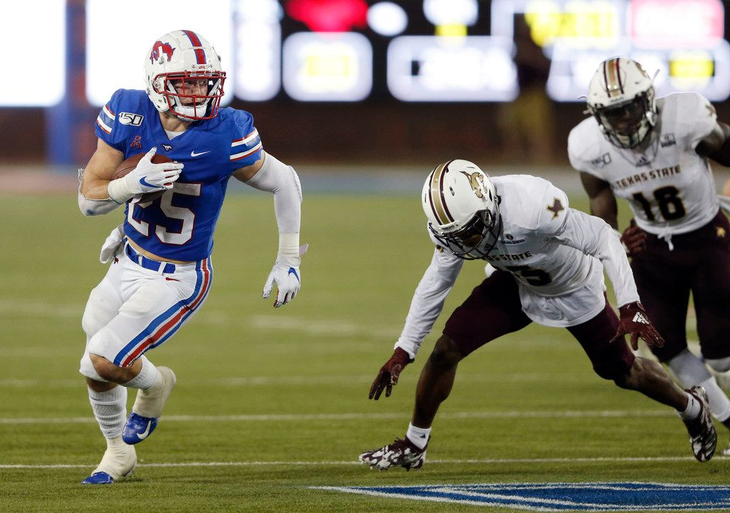 SMU running back TJ McDaniel (25) rushes up the field in a game against Texas State Bobcats during the second half of play at Gerald J. Ford Stadium in Dallas, on Saturday, September 14, 2019. SMU defeated the Texas State Bobcats 47-17. (Vernon Bryant/The Dallas Morning News)