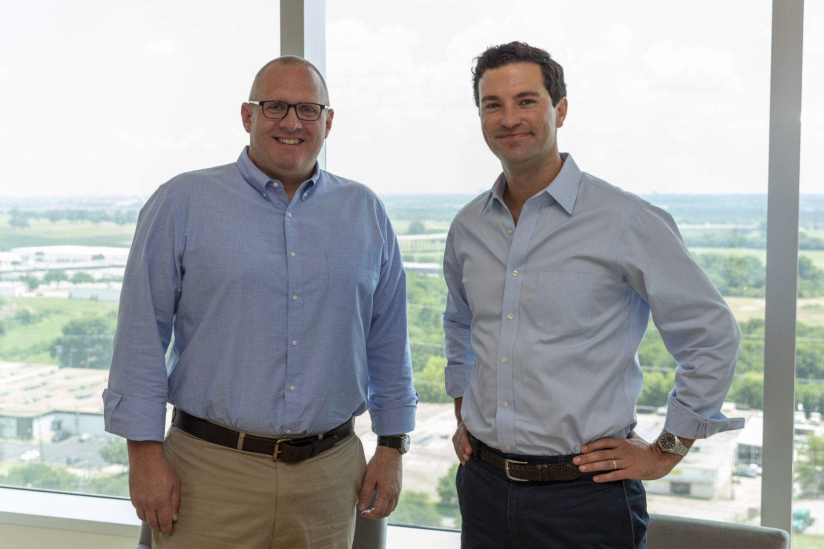 Steve Davis (left), president of J. Small Investments, and Matt Crommett, director at Lyda Hill Philanthropies and LH Capital, at Pegasus Park in Dallas. The 23-acre campus includes commercial office space, biotech facilities and dining and entertainment spaces.