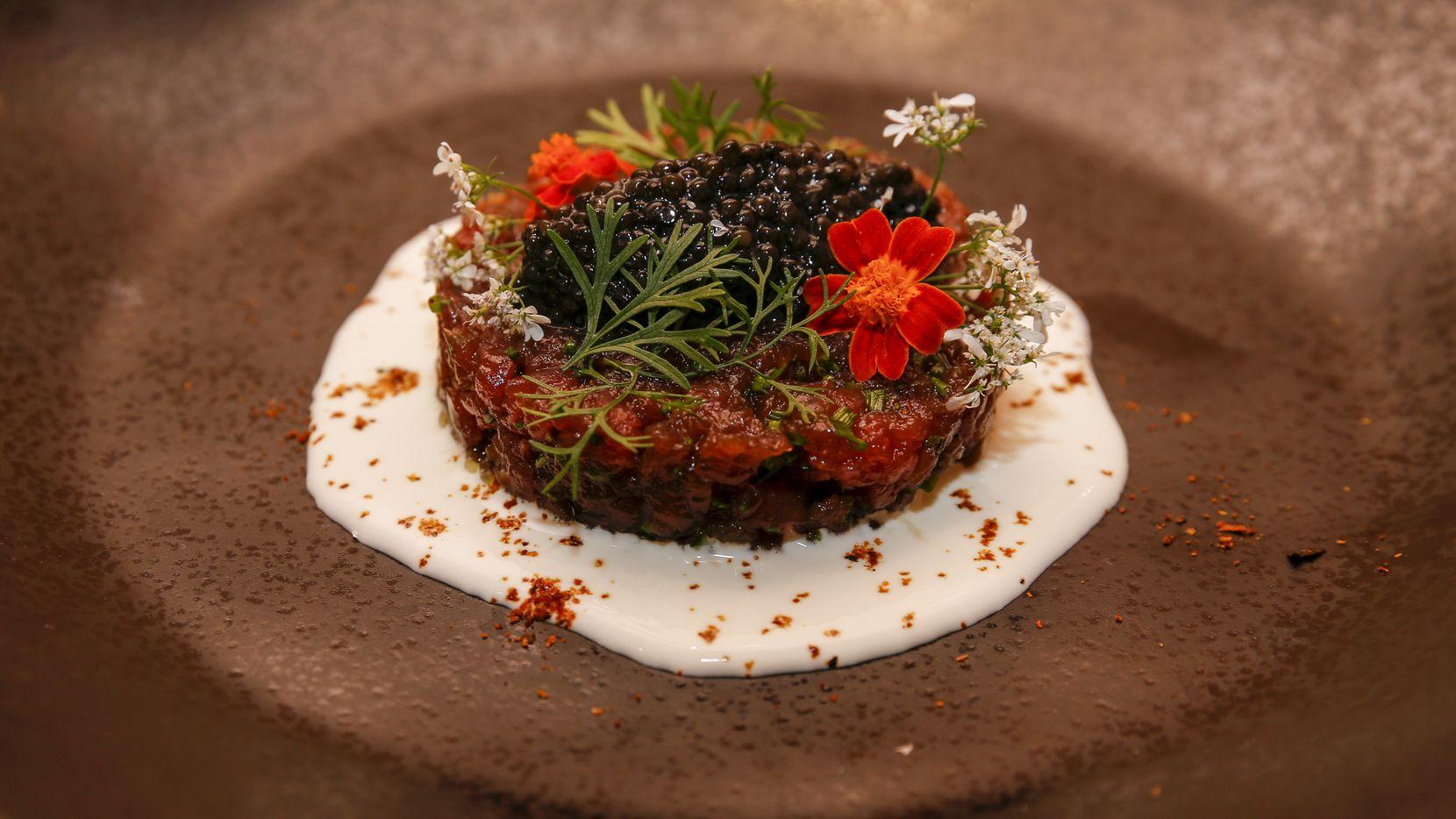 Tuna and caviar tartare at Revolver Taco Lounge