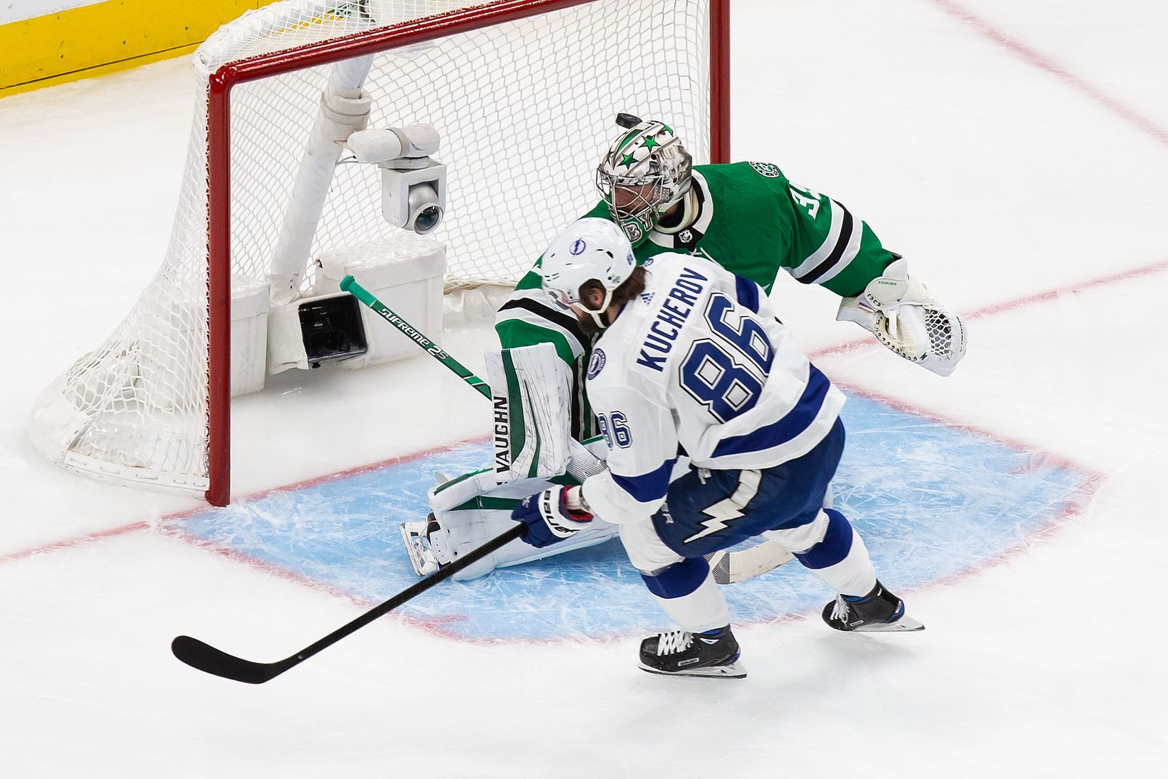 Goaltender Anton Khudobin (35) of the Dallas Stars can't stop Nikita Kucherov (86) of the Tampa Bay Lightning from scoring during Game Three of the Stanley Cup Final at Rogers Place in Edmonton, Alberta, Canada on Wednesday, September 23, 2020. (Codie McLachlan/Special Contributor)