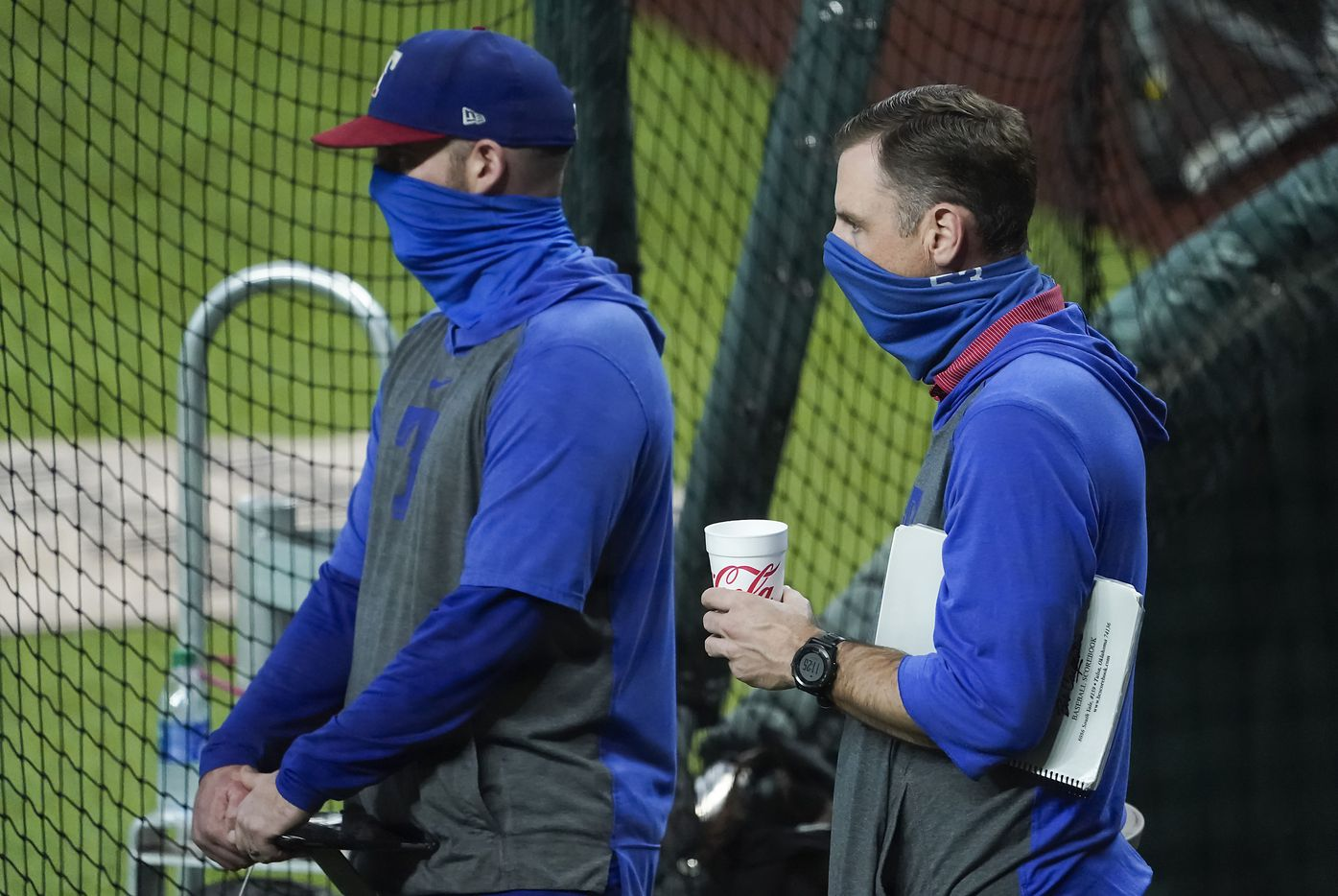 Texas Rangers assistant general manager Mike Daly (right) watches a game between players at the team's alternate training site at Globe Life Field on Saturday, Sept. 19, 2020.