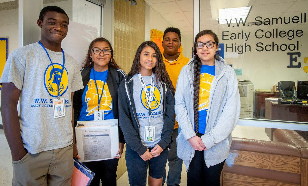 W.W. Samuell HIgh School had the most Dallas students earning an associate degree while in high school in 2018. These current students -- from left, Torrey Cohen Jr., Valeria Ramirez, Devorah Beltran, Quincy Brown and Lizbeth Rodriguez are on track toward earning a two-year degree as well as a diploma.