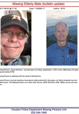 A flyer produced by Houston police for missing James Simmon.