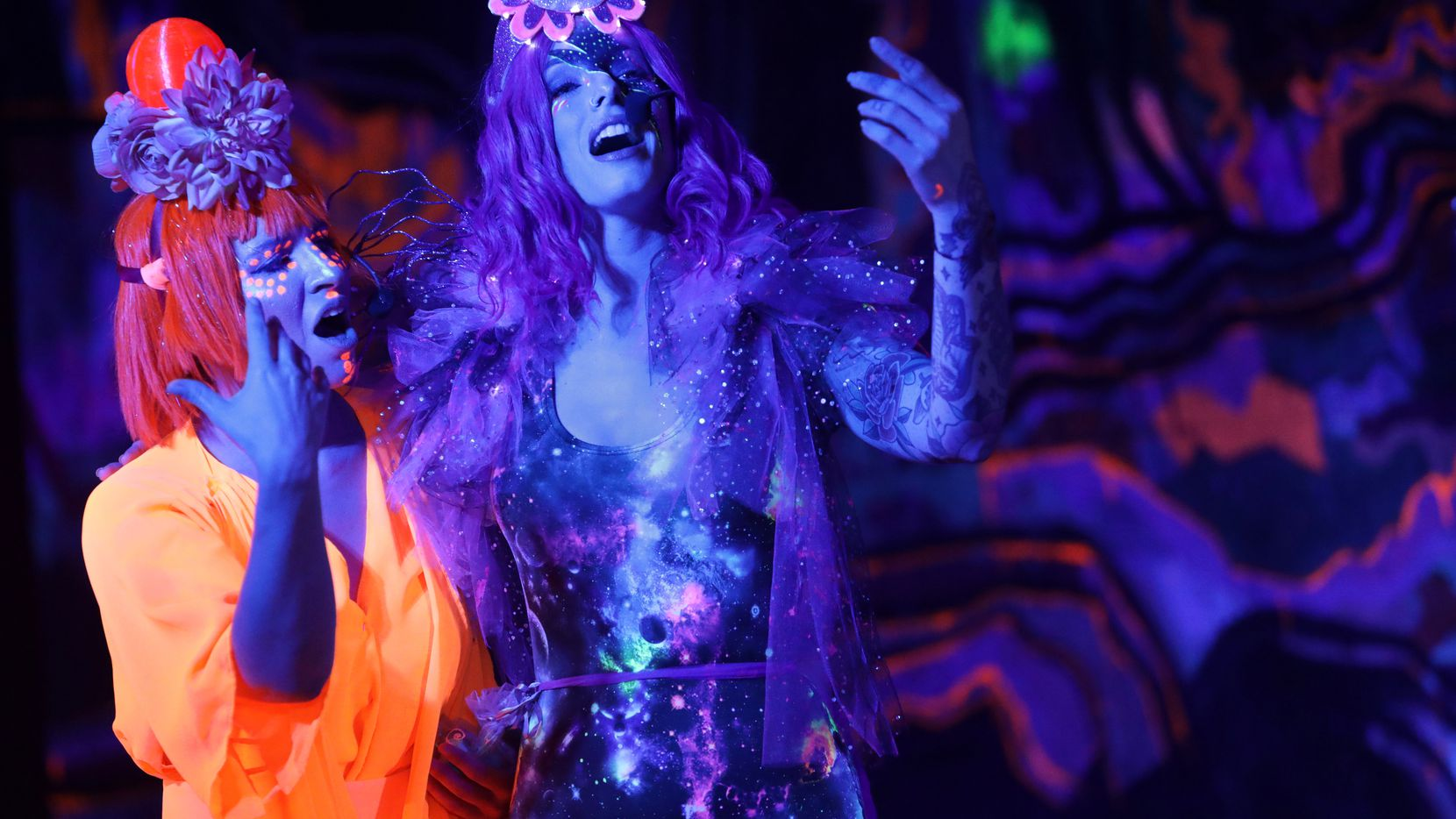 """""""Helium Queens: A Space Opera"""" is a collaboration between several Dallas artists. Its two-weekend August run wrapped up Saturday. Performers are shown in a Friday show at Artstillery."""