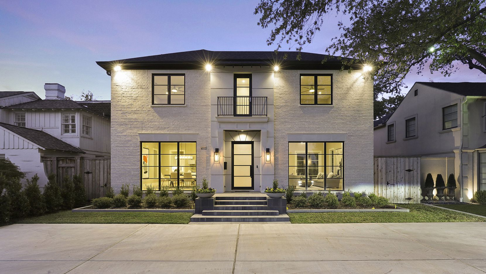 The home at 4512 Mockingbird Lane in the Park Cities, listed by Karen LaVorgna, is a transitional design.