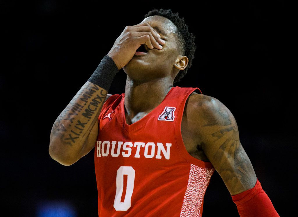 Houston Cougars guard Marcus Sasser (0) reacts to a penalty during the second half of a basketball game between SMU and University of Houston on Saturday, February 15, 2020 at Moody Coliseum in Dallas. (Ashley Landis/The Dallas Morning News)