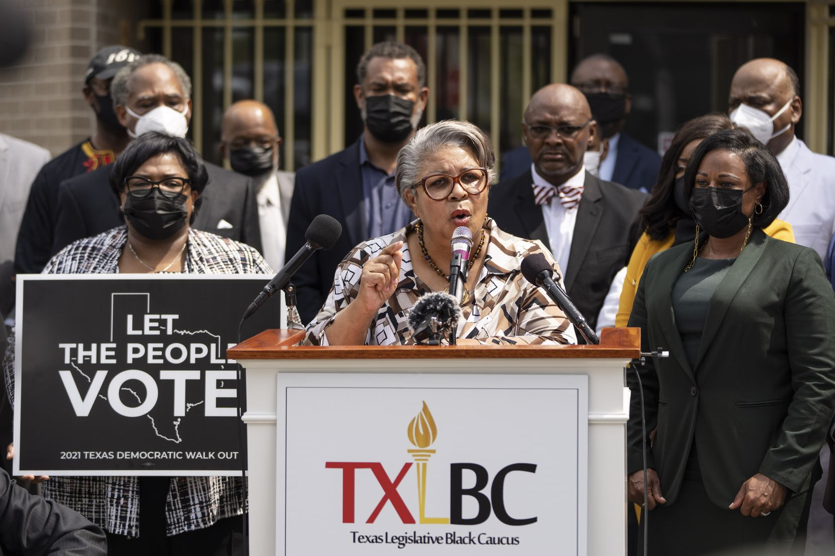 Surrounded by local faith leaders and fellow members of the Texas Legislative Black Caucus, state Rep. Senfronia Thompson, D-Houston, speaks during a news conference about voting rights at Unity Baptist Church on July 26, 2021 in Washington, DC. Local faith leaders called on Black churches across the country to help the Texans fight GOP-backed restrictions on voting.