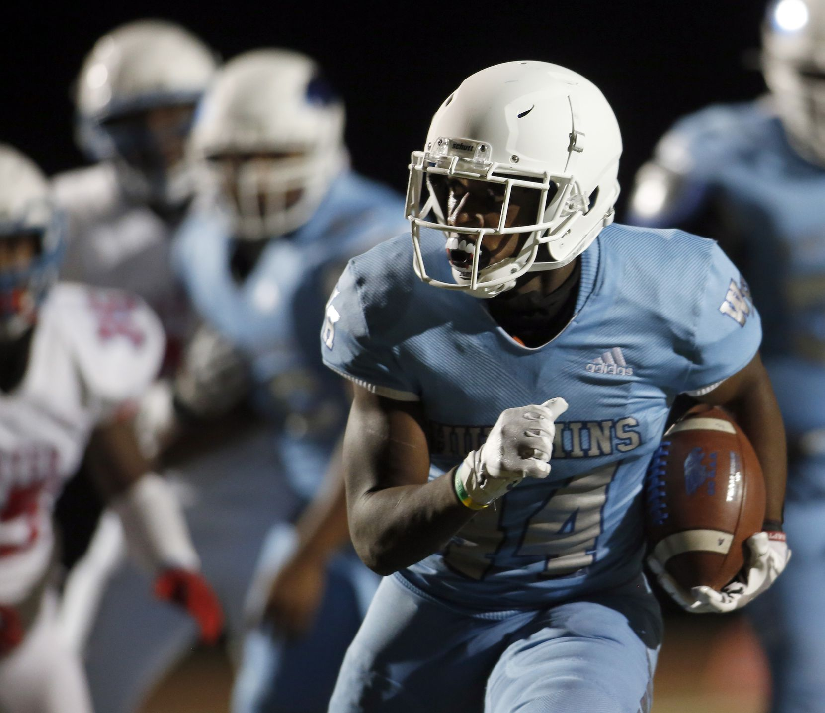 Wilmer Hutchins running back Billy Monroe, lll (44), maneuvers his way into the end zone for a rushing touchdown during 2nd quarter action against Dallas Carter. The two teams played their District 8-4A Division 1 football game at Wilmer Hutchins High School Stadium in Dallas on October 23, 2020. (Steve Hamm/ Special Contributor)