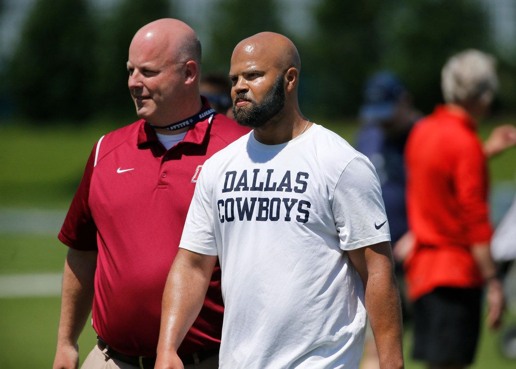Kris Richard (center), new secondary coach during the Dallas Cowboys rookie minicamp at the Star in Frisco, Texas, on Friday, May 11, 2018.  (Louis DeLuca/The Dallas Morning News)