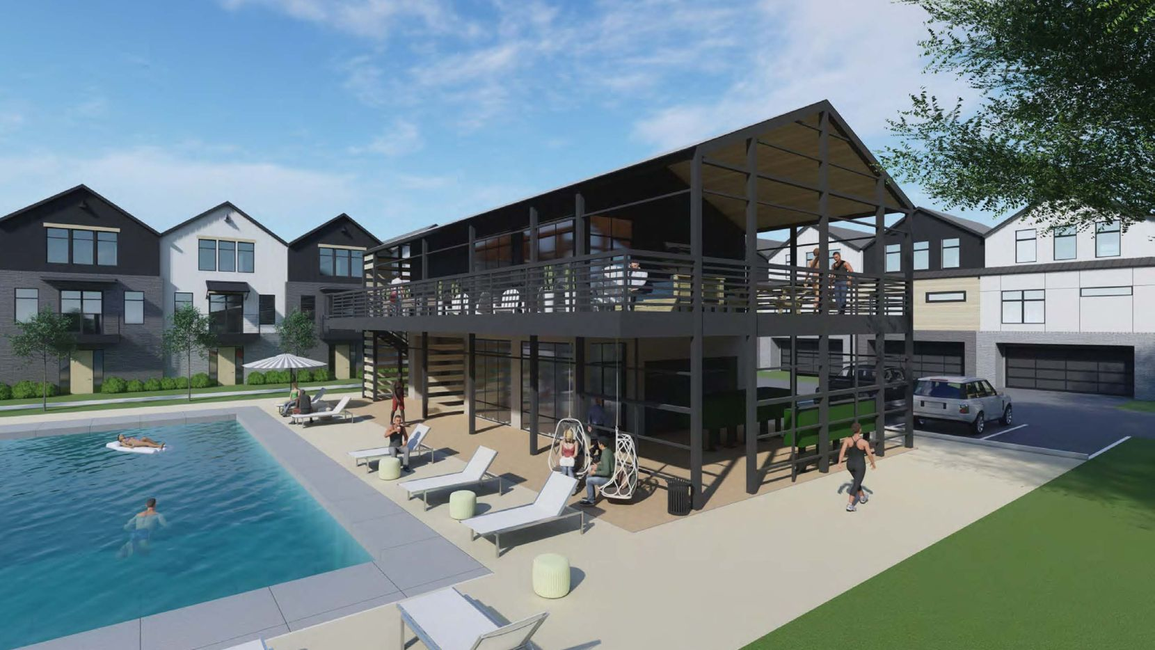 The Fort Worth Avenue rental community will include a clubhouse and swimming pool.