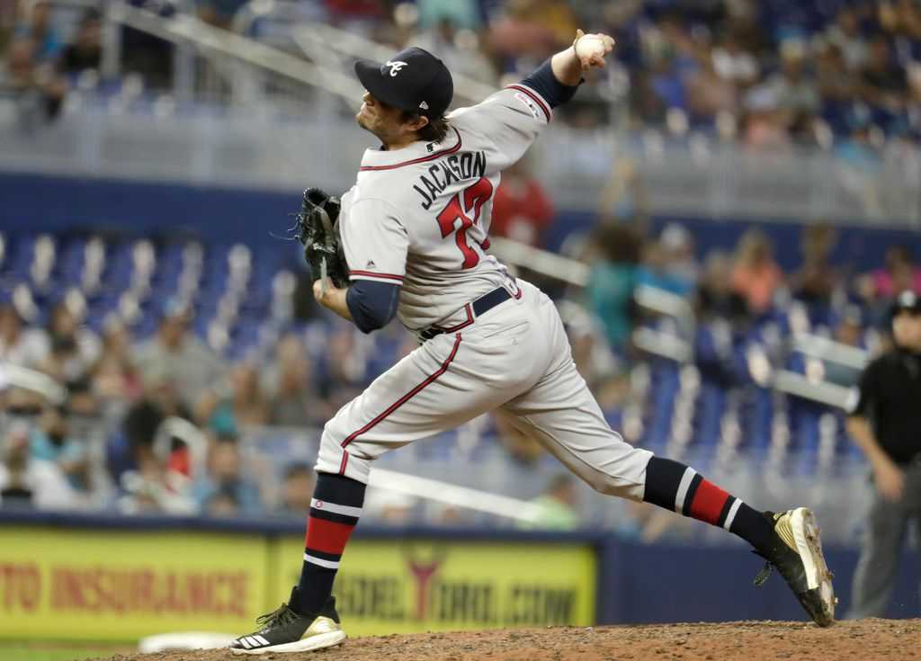 Atlanta Braves relief pitcher Luke Jackson (77) throws during the 10th inning of a baseball game against the Miami Marlins, Sunday, May 5, 2019, in Miami. The Braves won 3-1 in ten innings. (AP Photo/Lynne Sladky)