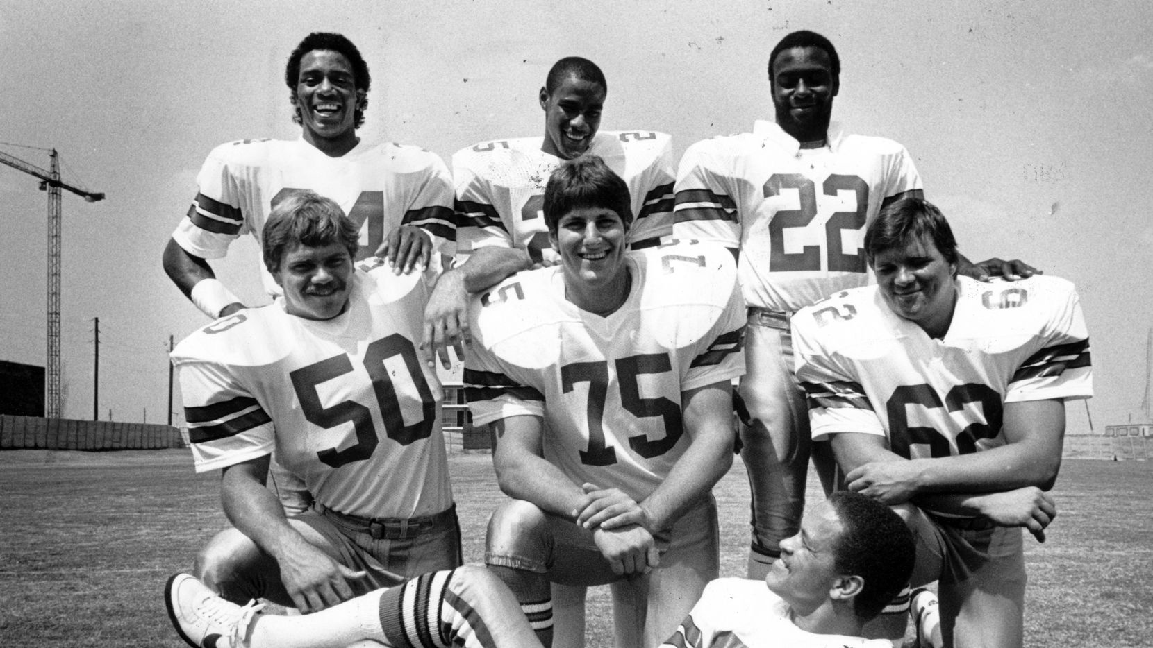 Dallas Cowboys - Picture Day, 1982 - Top row, from left:   Monty Hunter, Rod Hill, George Peoples; center: Jeff Rohrer, Phil Pozderac, Brian Baldinger; bottom: Butch Johnson