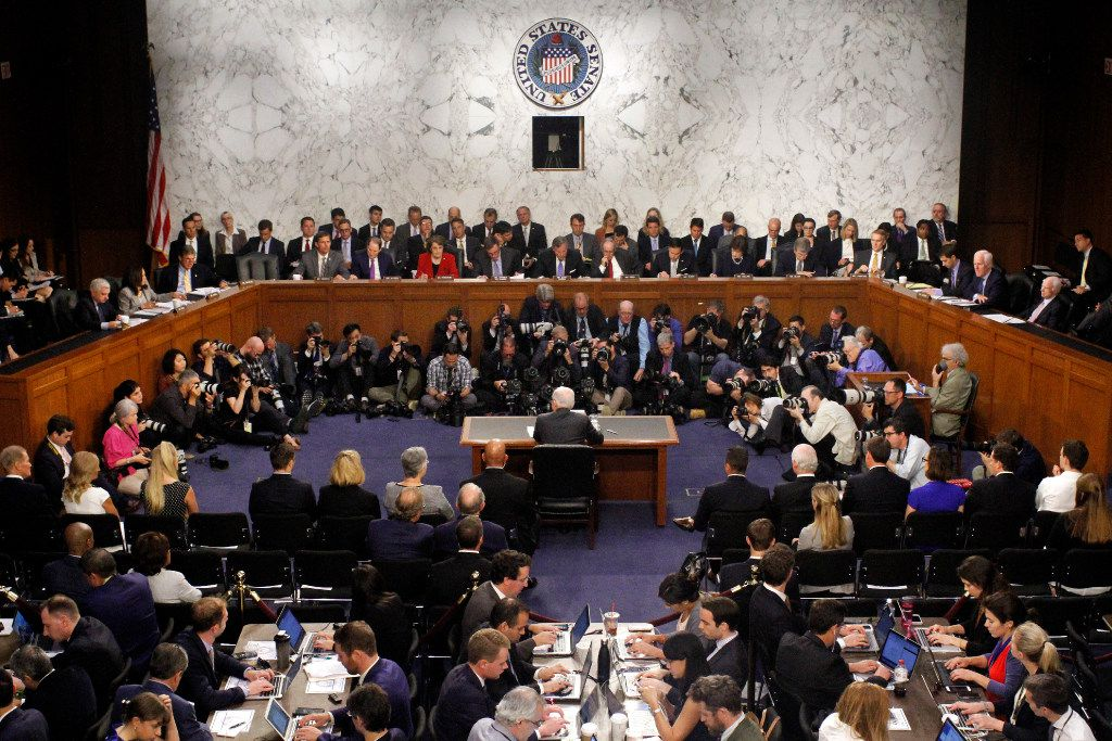 Attorney General Jeff Sessions, center, testified before the Senate Intelligence Committee on Tuesday about his role in the firing of James Comey, his Russian contacts during the campaign and his decision to recuse from an investigation into possible ties between Moscow and associates of President Donald Trump. (AP Photo/Jacquelyn Martin)