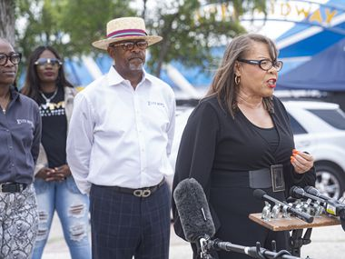 Elite News and the Blair Foundation are hosting the first Juneteenth March and Festival in Dallas on June 19. Seen here is Pat Bailey, caregiver consultant with the Black Alzheimer's Study at the University of North Texas Health Science Center at Fort Worth at the press conference event held on June 10 at Fair Park in Dallas.