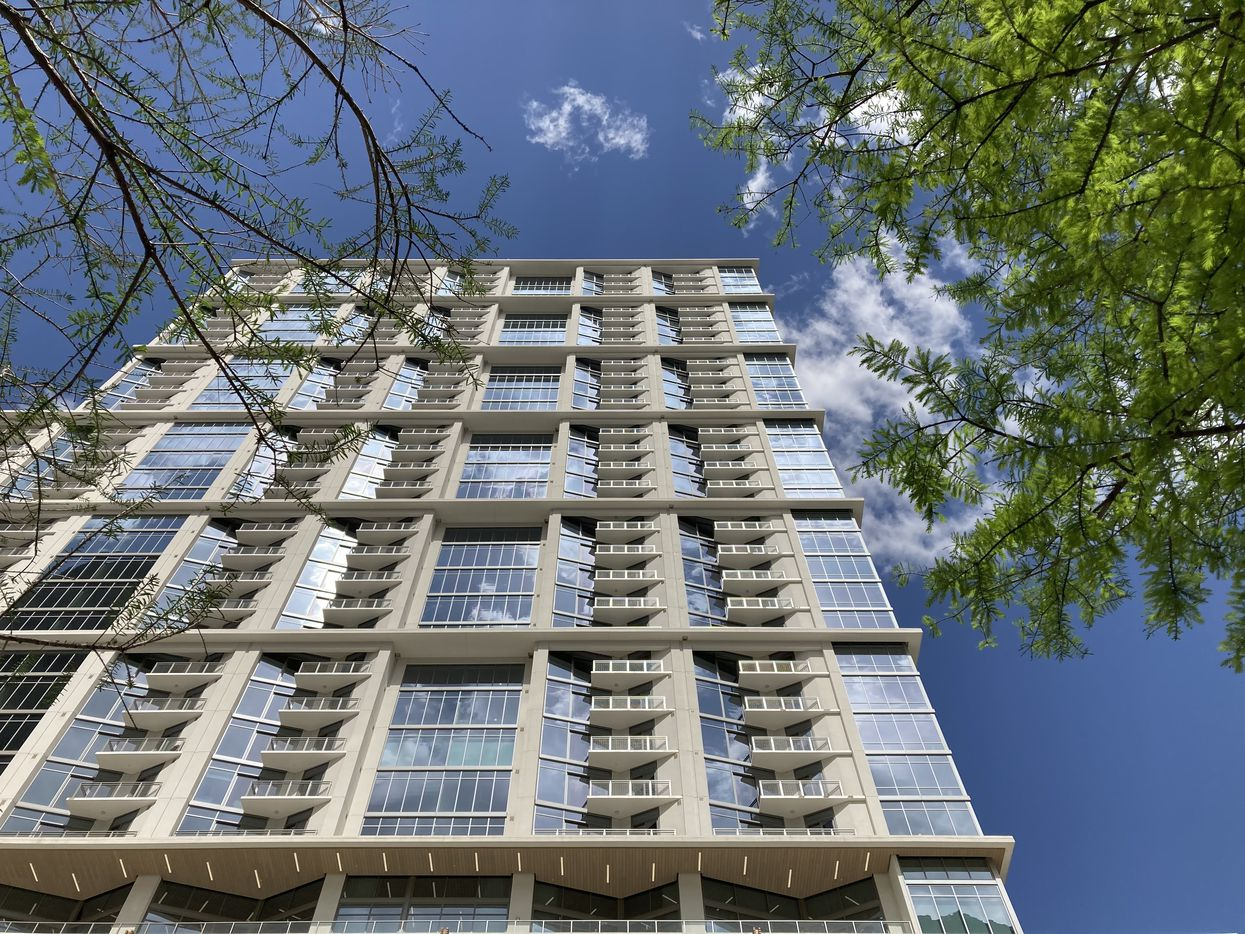The 41-story Atelier apartment tower is at Pearl and Flora streets.