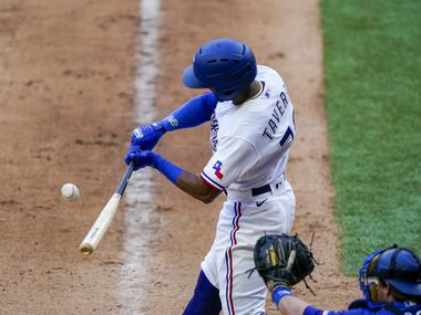 Outfielder Leody Taveras bats in an intrasquad game during Texas Rangers Summer Camp at Globe Life Field on Friday, July 17, 2020.